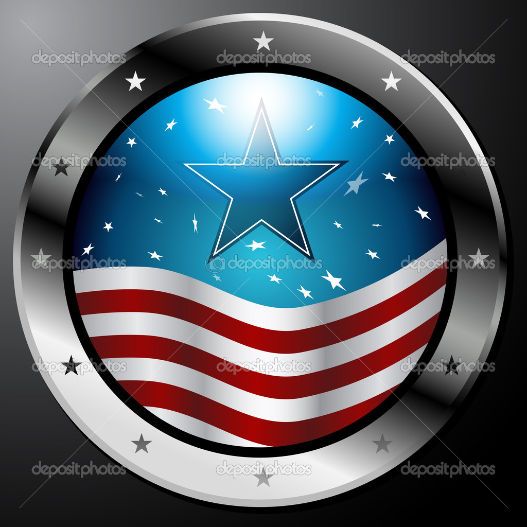 An image of an American Flag button. — Stock Vector #3984964