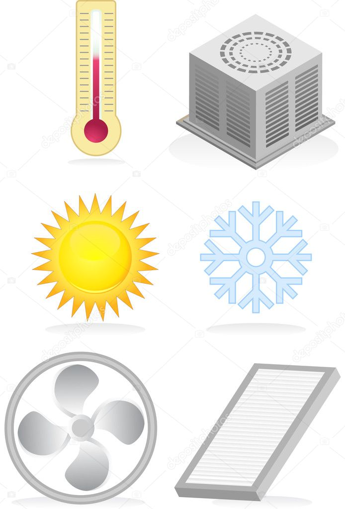 Set of six air conditioner related themed icons. — Stock Vector #3985025