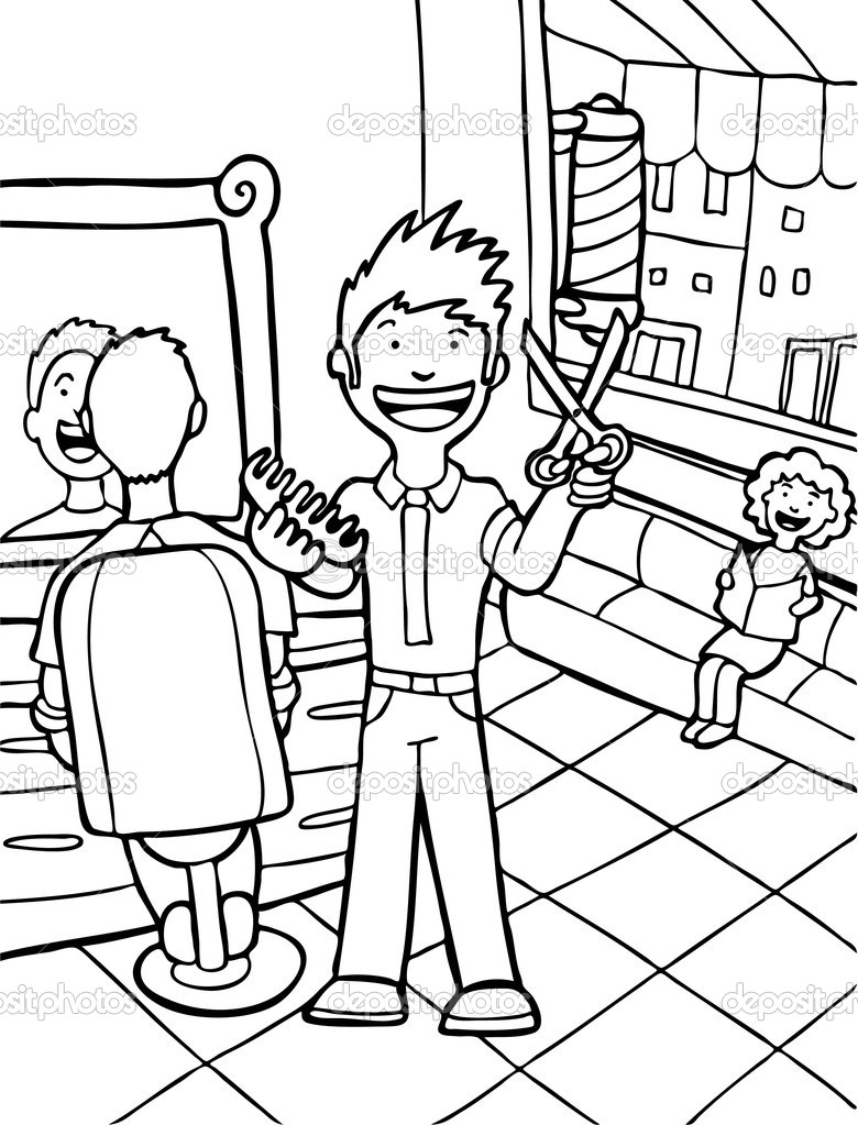 barber shop coloring page coloring pages