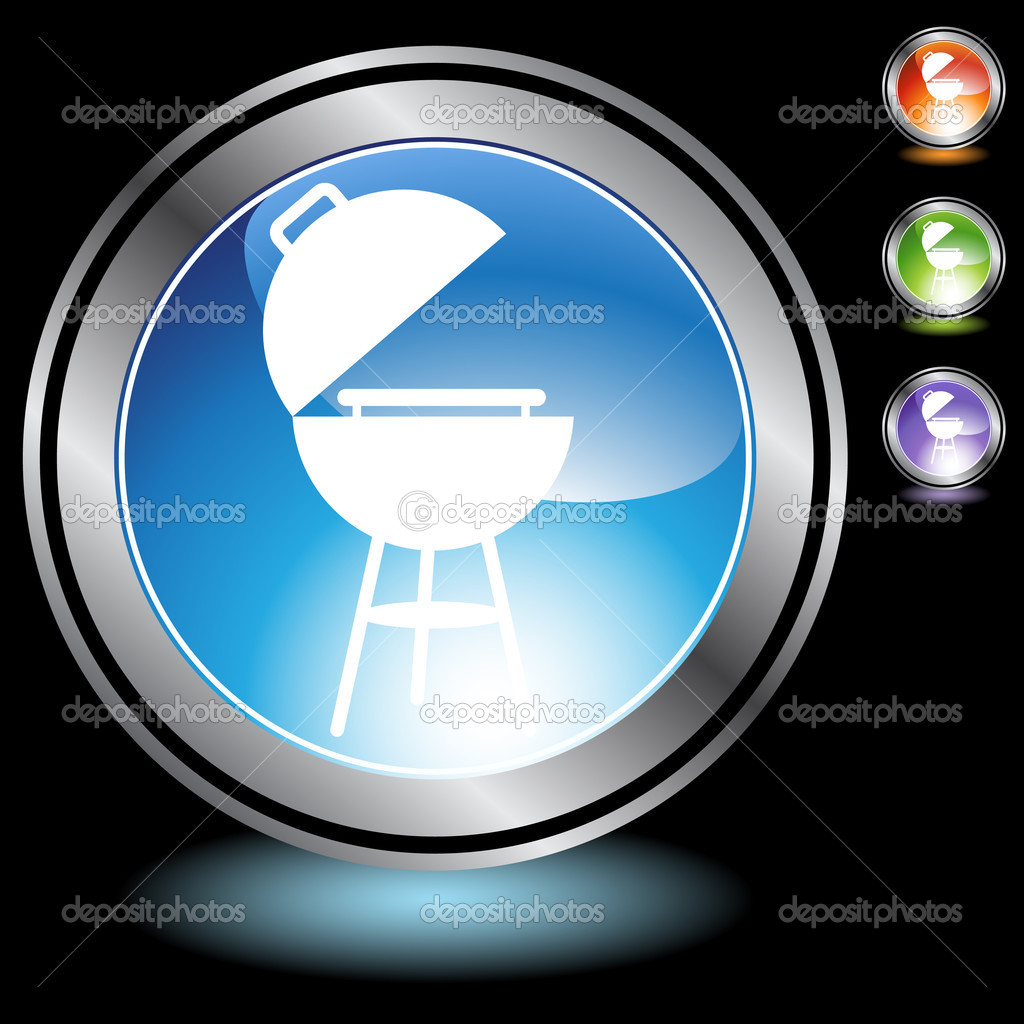 A set of 3D icon buttons in silver chrome - bbq grill.  Stock Vector #3985516