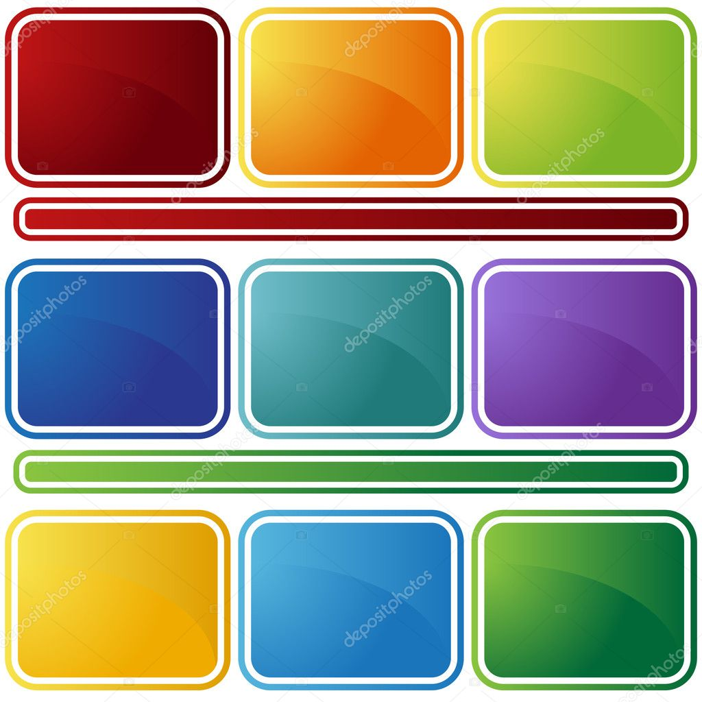 Set of 9 beveled web buttons in different colors. — Stock Vector #3985572