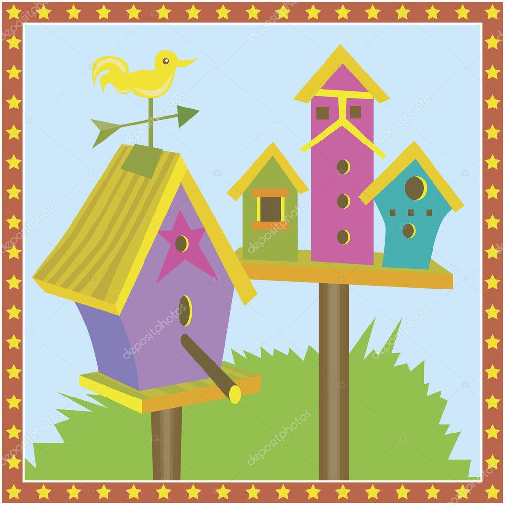 Set of ornate bird houses. — Stock Vector #3985675