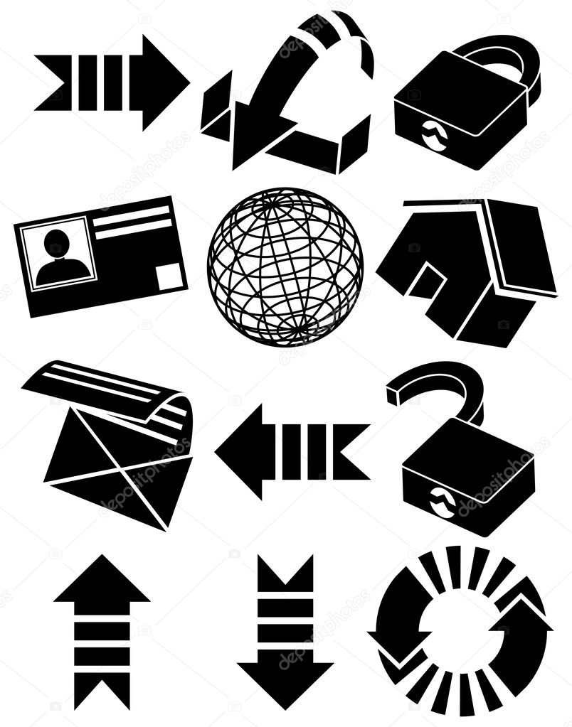 Web themed icons in basic black. — Stock Vector #3985844