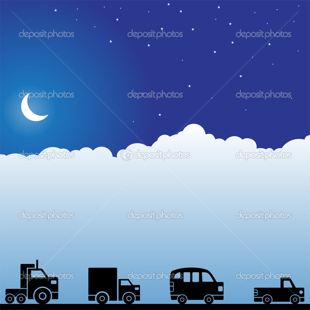 Background night scene with clouds and moon with vehicles. — Stock Vector #3986188