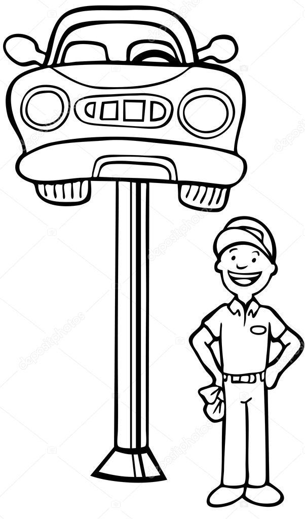 Auto mechanic car lift stock illustration