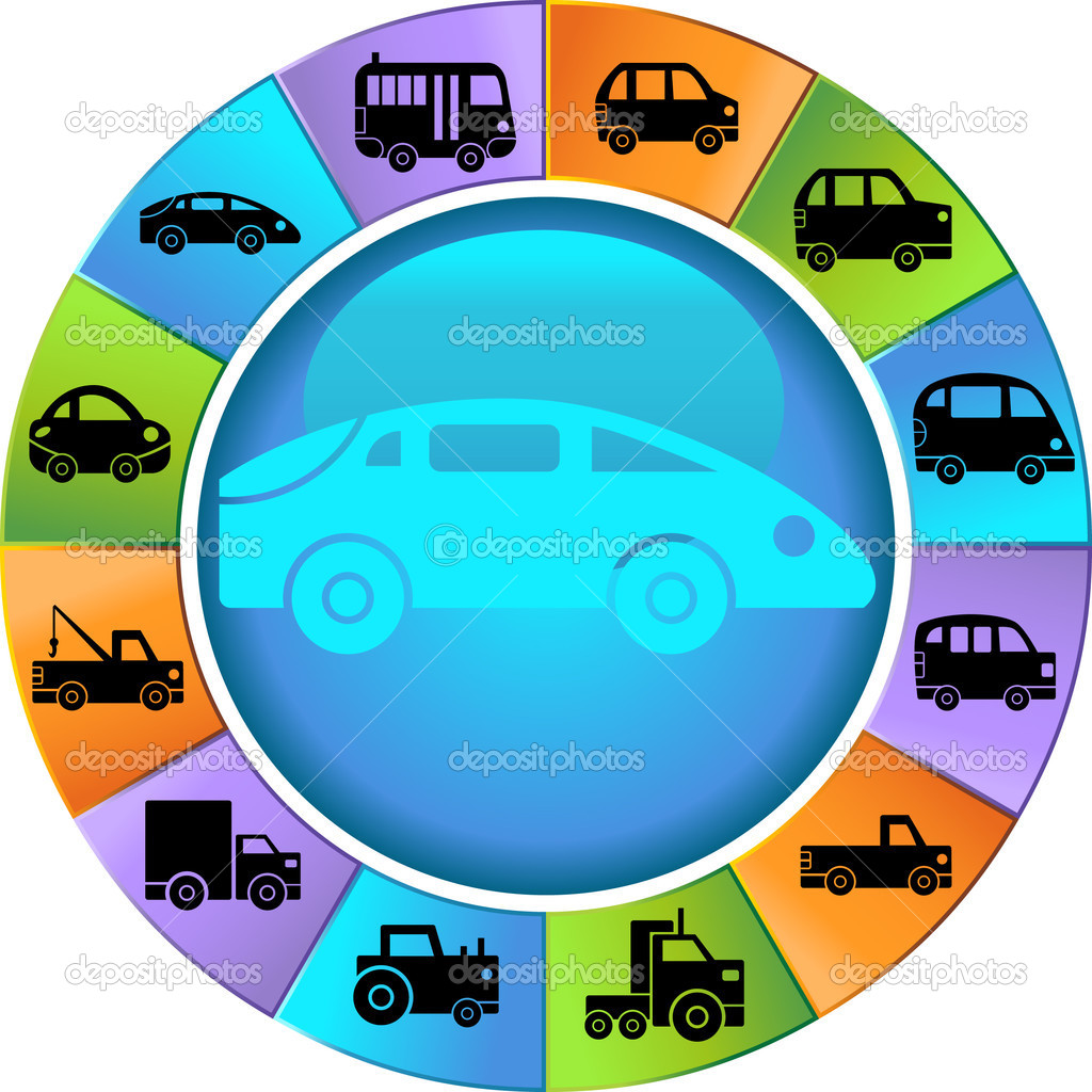 Wheel with 12 different styles of vehicles. — Stock Vector #3986233