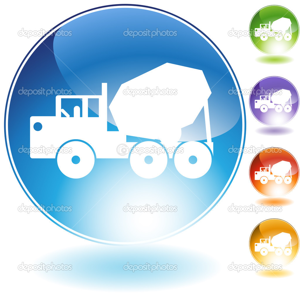 Cement truck crystal icon isolated on a white background. — Stock Vector #3986372