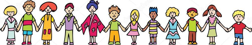 Children Holding Hands Vector. children holding hands vector.