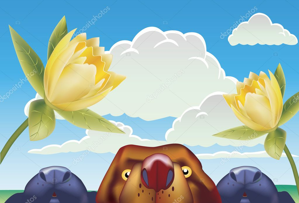 Dogs in the outdoors trying to smell flowers.  Stock Vector #3986678