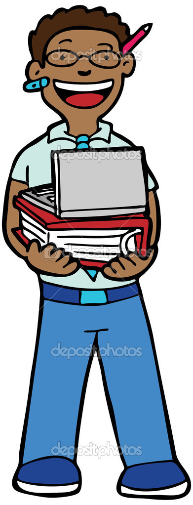 Cartoon image of a geek with his supplies. — Stock Vector #3986840