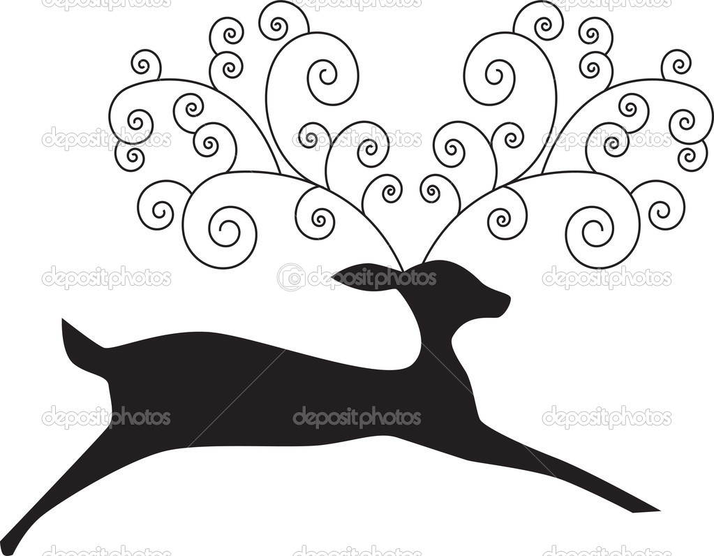 Image of a reindeer with artsy antlers. — Stock Vector #3987052