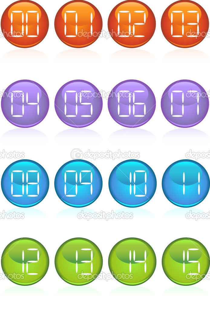 Set of 16 digital buttons counting from 0 to 15.  Stock Vector #3987139