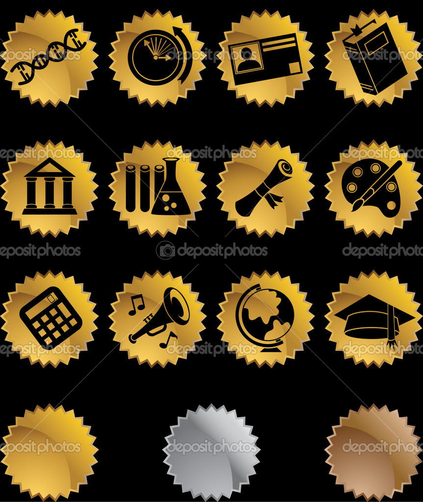 A set of educational icons. — Stock Vector #3987382