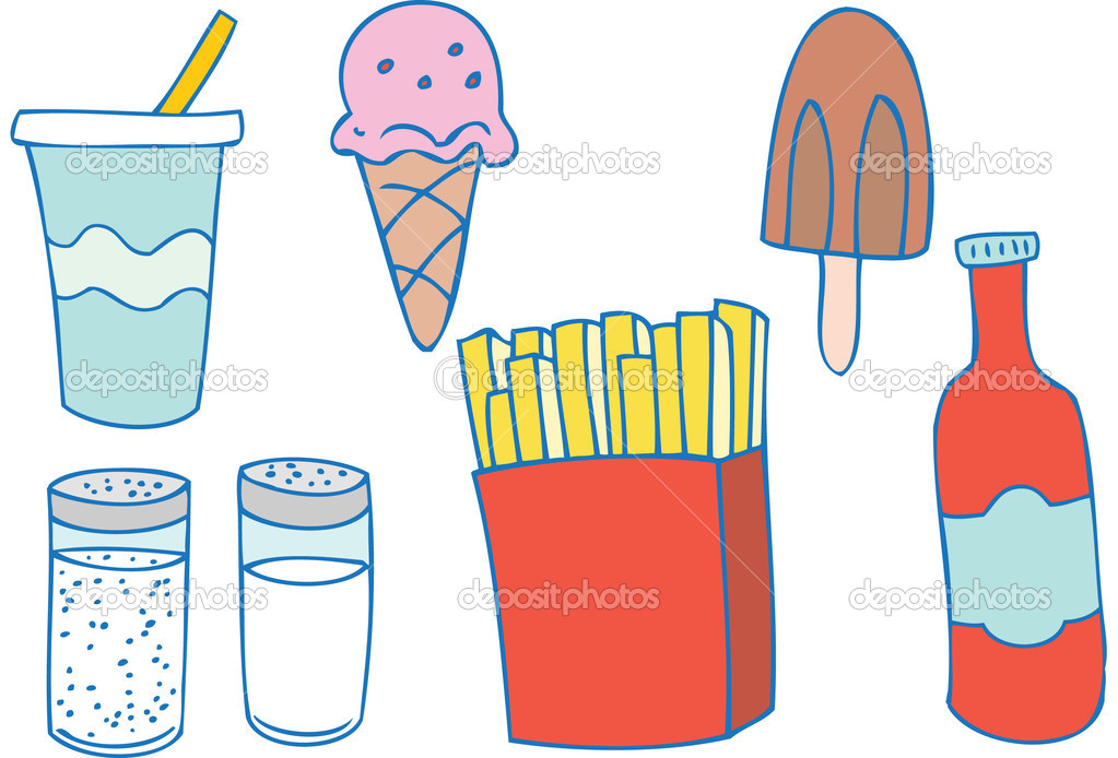 Assortment of fast-food items. — Stock Vector #3987604