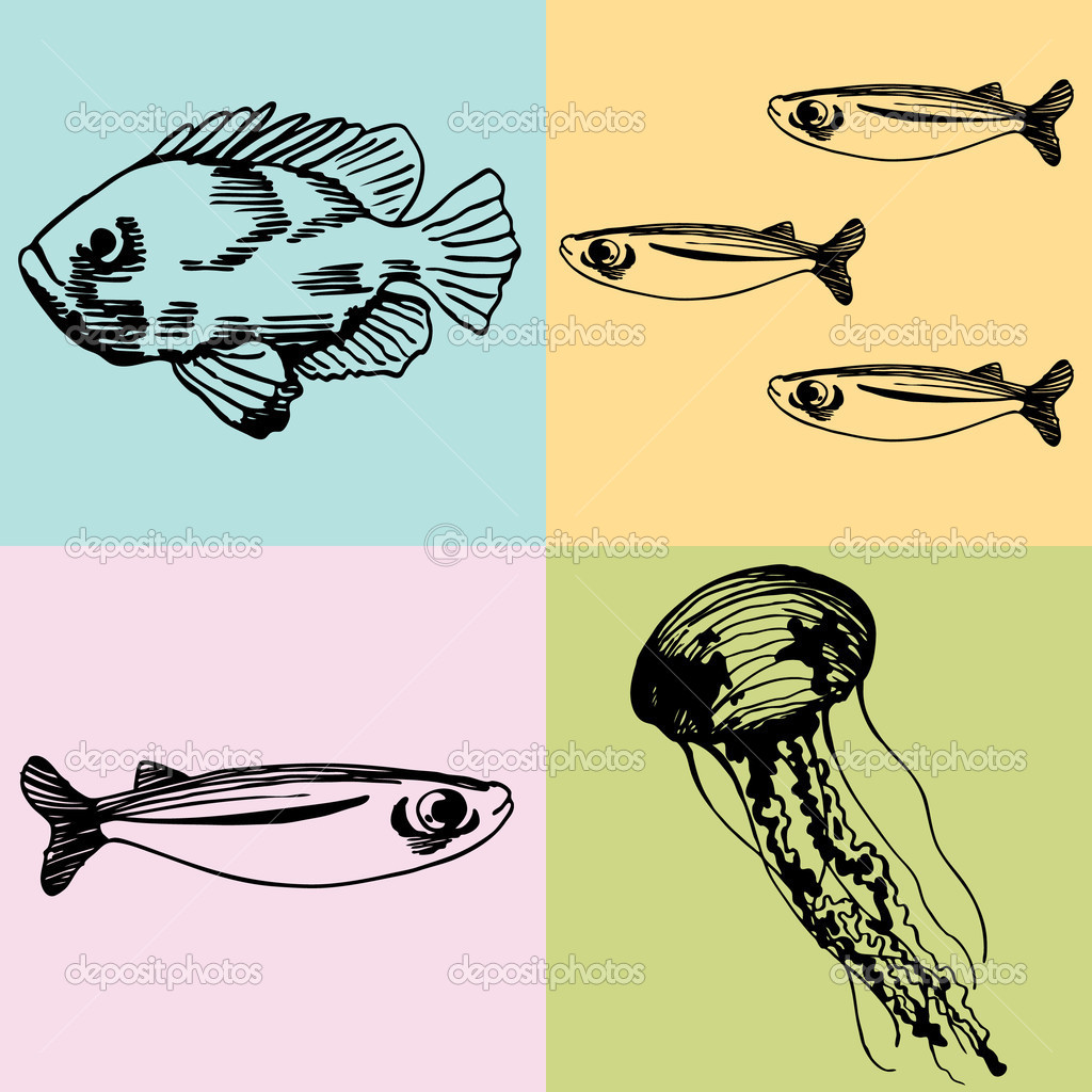 This is just a drawing of five fishes and a jelly fish.For our poem.
