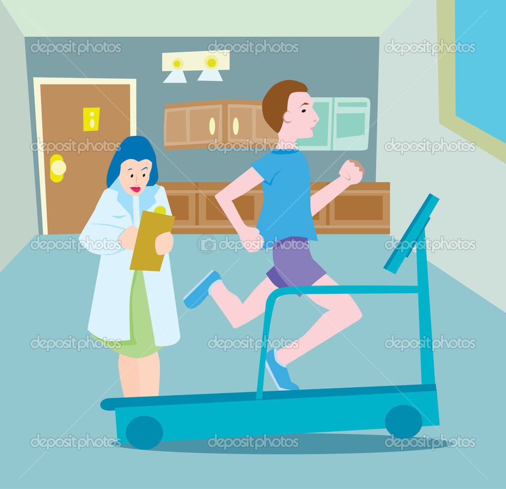 Man runs on treadmill while being documented by coach/physician. — Stock Vector #3987780