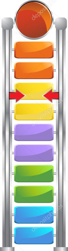 Goal measuring device in bright colors and shiny metal.  Stock Vector #3988218