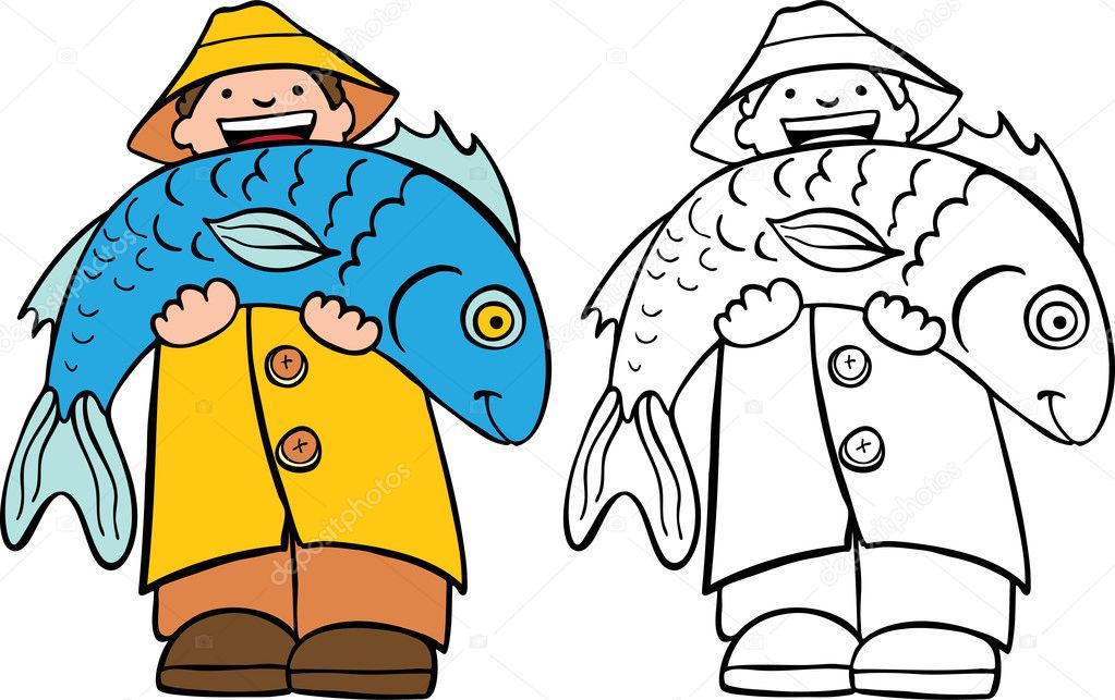 Cartoon image of a fisherman holding his catch of the day - both color and black / white versions.  Stock Vector #3988721