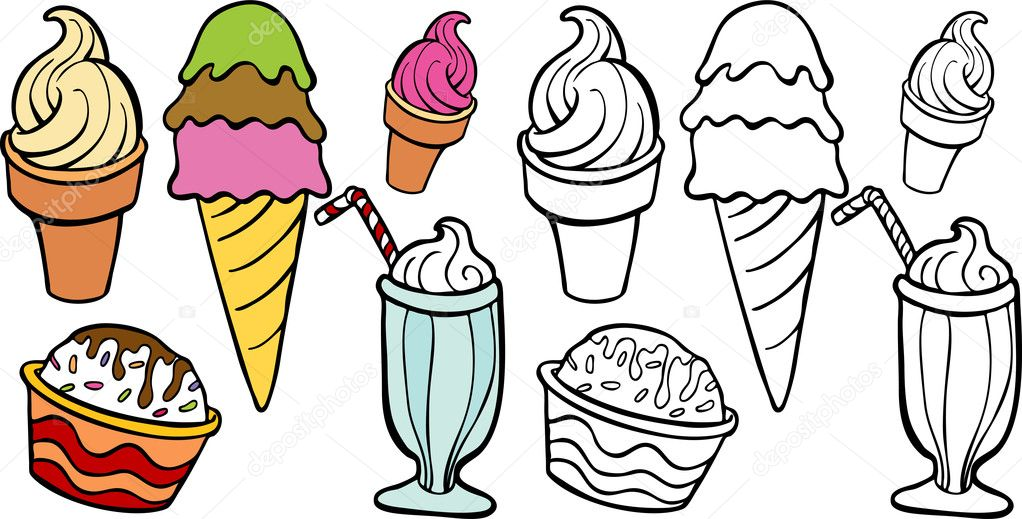 An image of a variety of ice cream treats. — Stock Vector #3988893