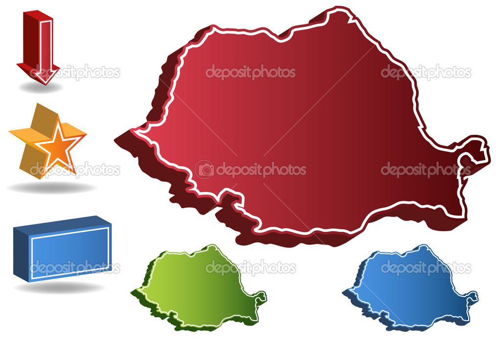 3D Romania country map isolated on a white background. — Stock Vector #3989298