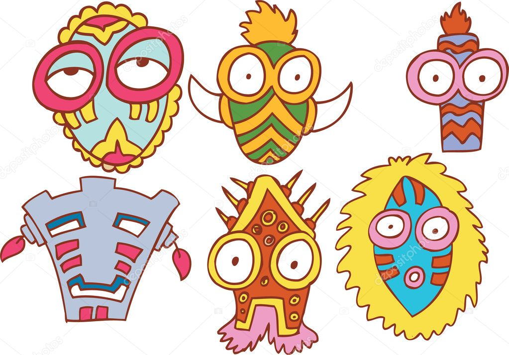 Collection of six tribal style masks.  Stock Vector #3989340