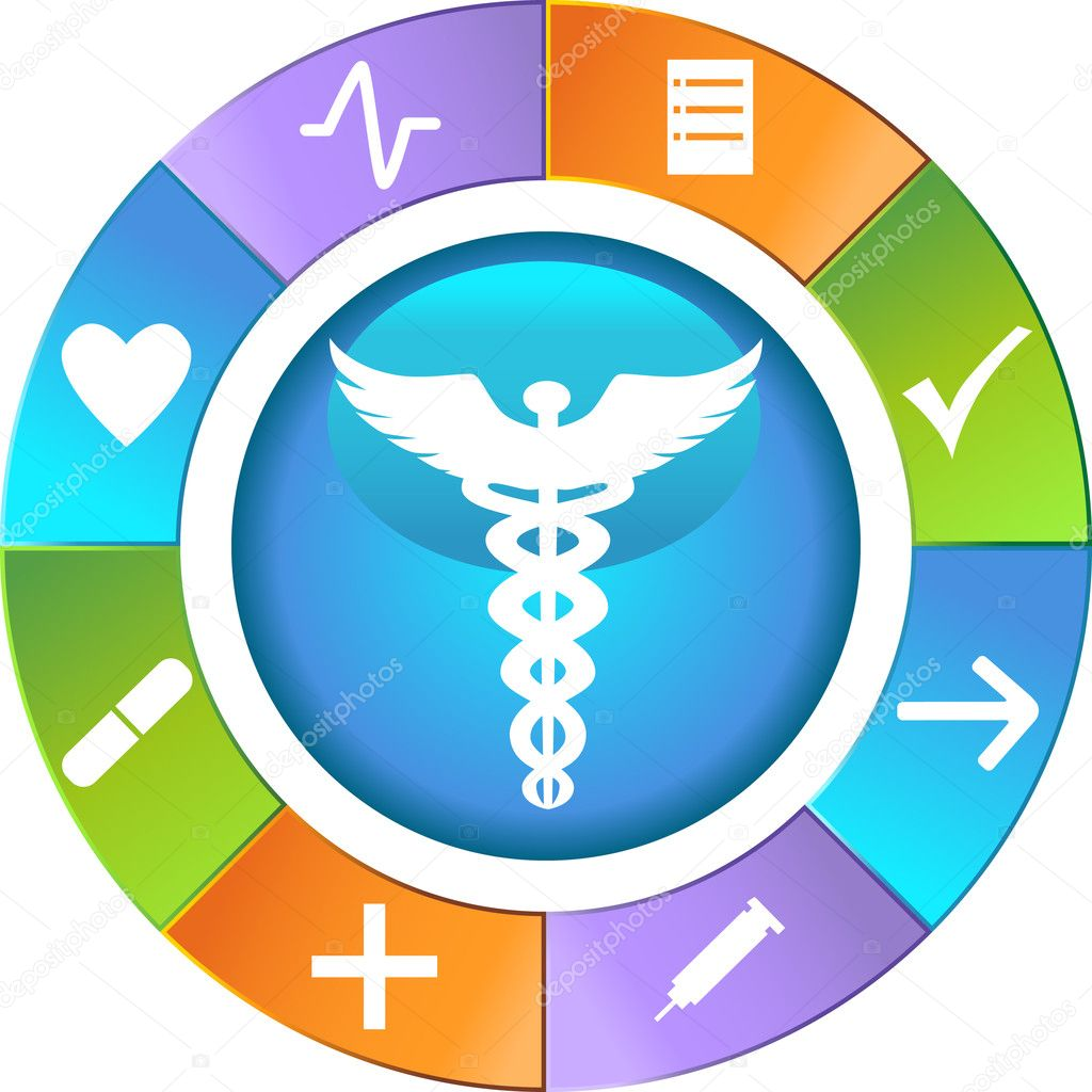 Set of 9 Healthcare Icons - wheel. — Image vectorielle #3989419