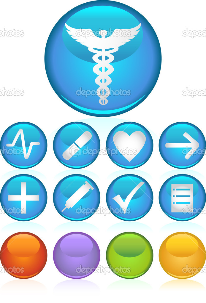 Set of 9 3D medical icons - round style. — Stock Vector #3989435