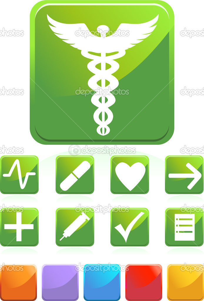 Set of medical icons - square style. — Stock Vector #3989445