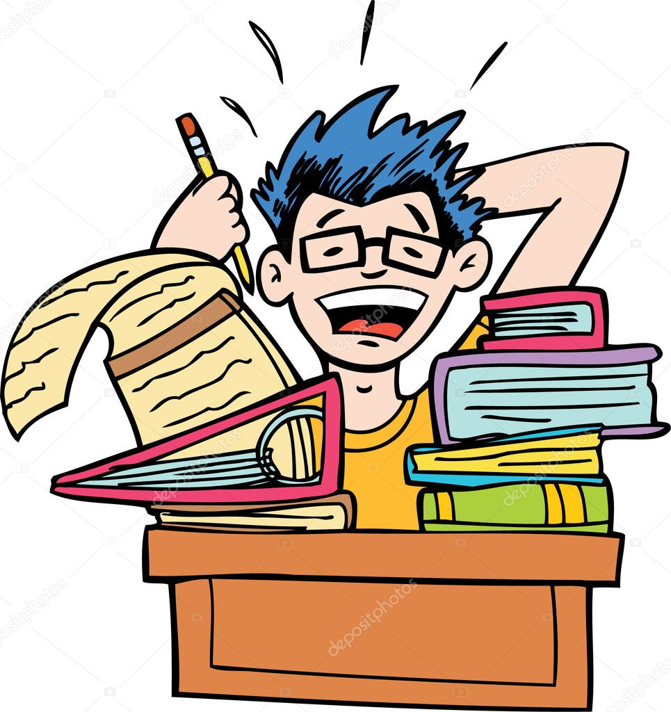 Student is overwhelmed by his homework. — Stock Vector #3989737