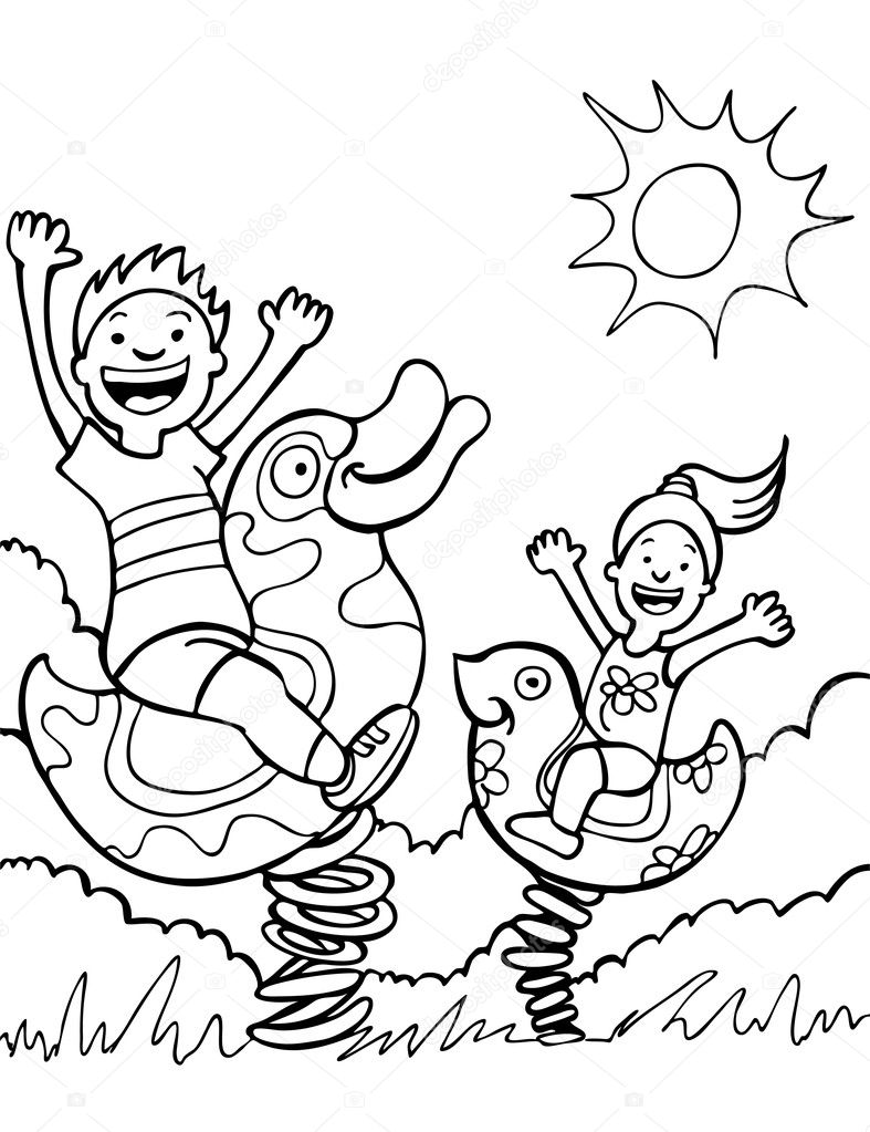 Coloring Pages Kids Playing Coloring Pages kids playing on park rides stock vector cteconsulting 3989853 3989853