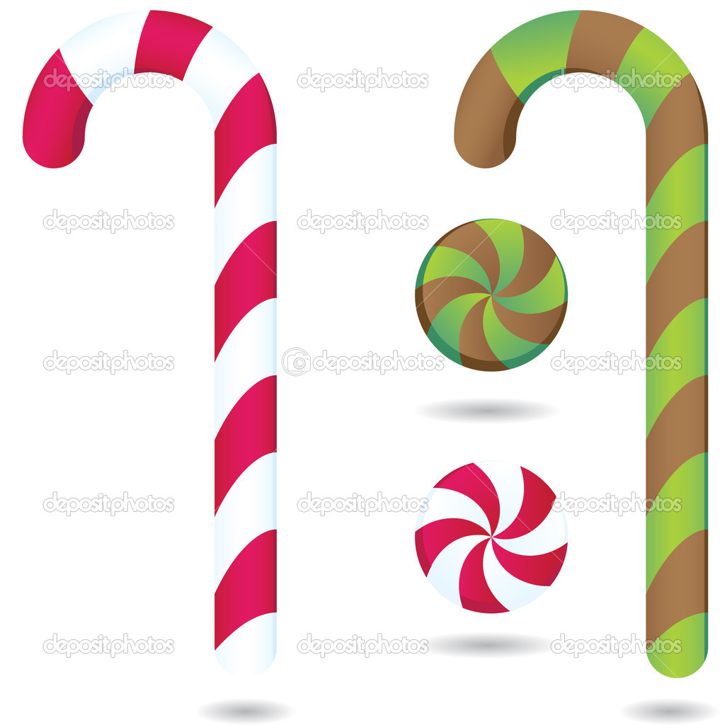Candy and candy canes in peppermint and chocolate with green mint. — Stock Vector #3989900