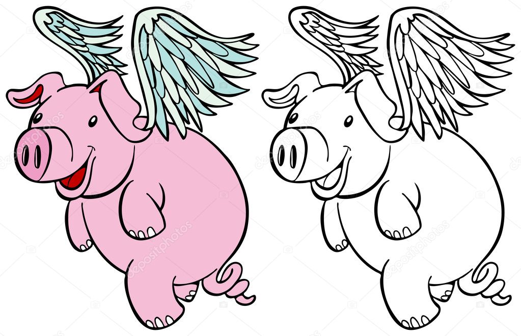 Flying pig set stock vector cteconsulting 3989973 for Flying pig coloring pages