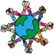Globe with Surrounding Kids Hugging - Stock Vector