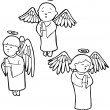 Angels praying - black and white — Stock Vector