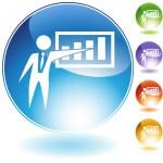 Presentation Businessman Crystal Icon — Stock Vector