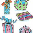 Colorful Hand Drawn Presents — Stock Vector