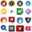Airplane Icon Set — Stock Vector