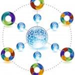 Процесс сетевой график - 3D стрелки — Cтоковый вектор