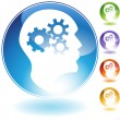 Cog Wheel Mind Crystal Icon — Stockvectorbeeld