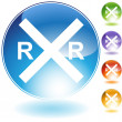 Royalty-Free Stock Imagem Vetorial: Railroad Crossing Crystal Icon