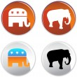 Political Buttons — Stock Vector