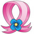 Pink Ribbon Blue Flower — Stock Vector