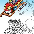 Stock Vector: Rollercoaster Ride
