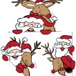 Royalty-Free Stock Vector Image: Santa and Reindeer Set