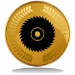 Gold Coin - Saw Blade - Stock Vector