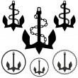 Stock Vector: Set of Anchors