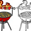 BBQ Grill with Kabob — Stock Vector