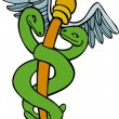 Caduceus Medical Symbol - Cartoon — Stock Vector