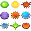 Stock Vector: Three Dimensional Starburst Stickers
