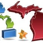 Michigan 3D — Stock Vector